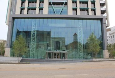 Glass facade of entrance