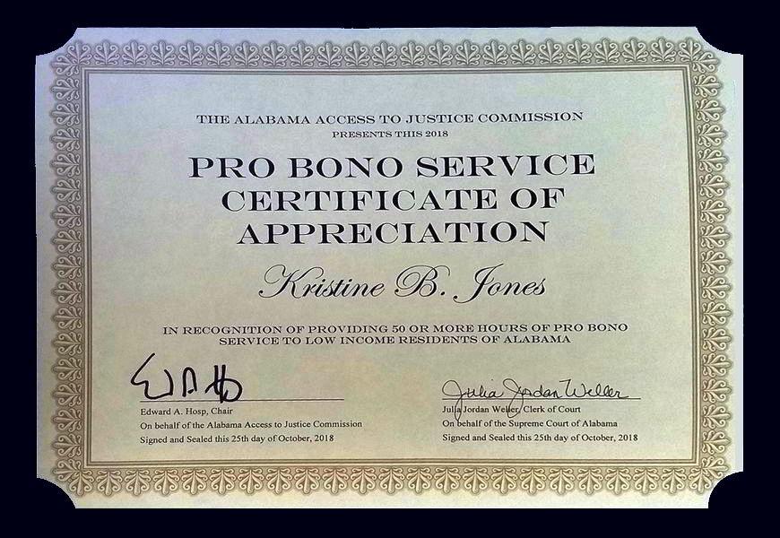 Alabama Pro Bono Service Certificate of Appreciation 2018