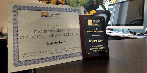 2017 Pro Bono Service Certificate of Appreciation - Montgomery County