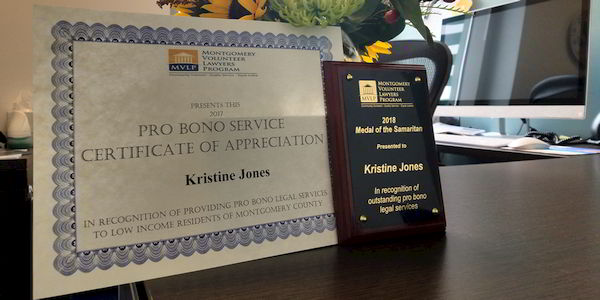 2017 Pro Bono Service Certificate of Appreciation - Montgomery County